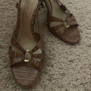 Brown croc look sling back heels
